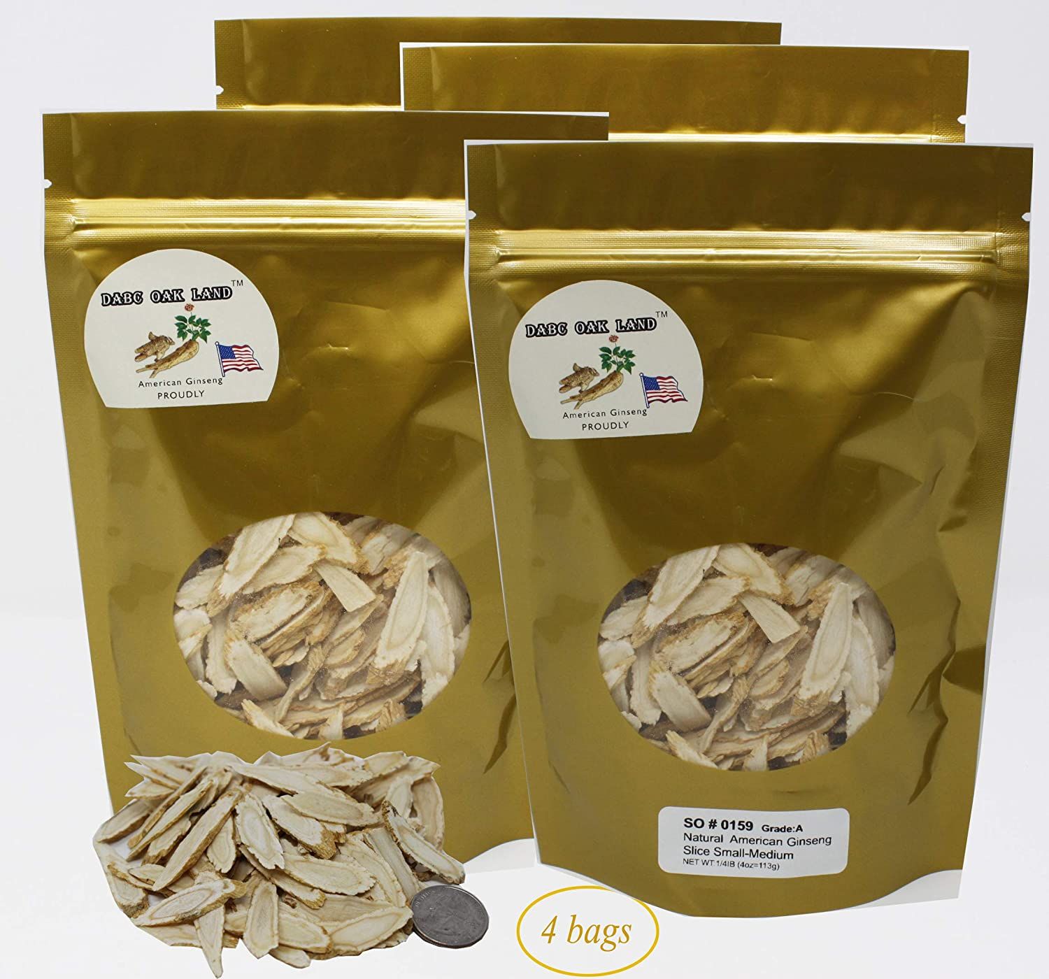 DABC OAK LAND 16OZ 453gm 4 Bags Ginseng Slice,Hand-Selected AAA Grade Ginseng Root Slices Sliced Ginseng Root SO 0159 Bag