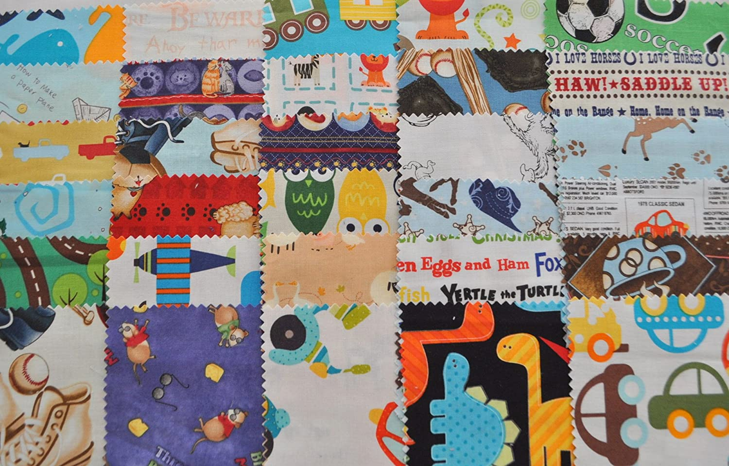 100/% Cotton 30 Different Pieces I Spy Novelty Boy Fabric 5 Squares Charm Pack