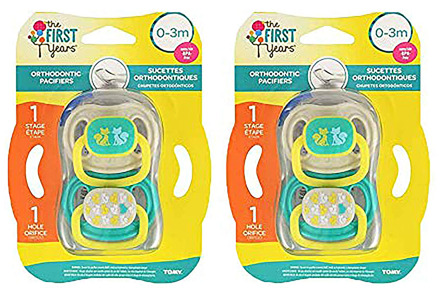 The First Years Gumdrop Newborn Pacifier (Blue/Yellow, 4 Pack)