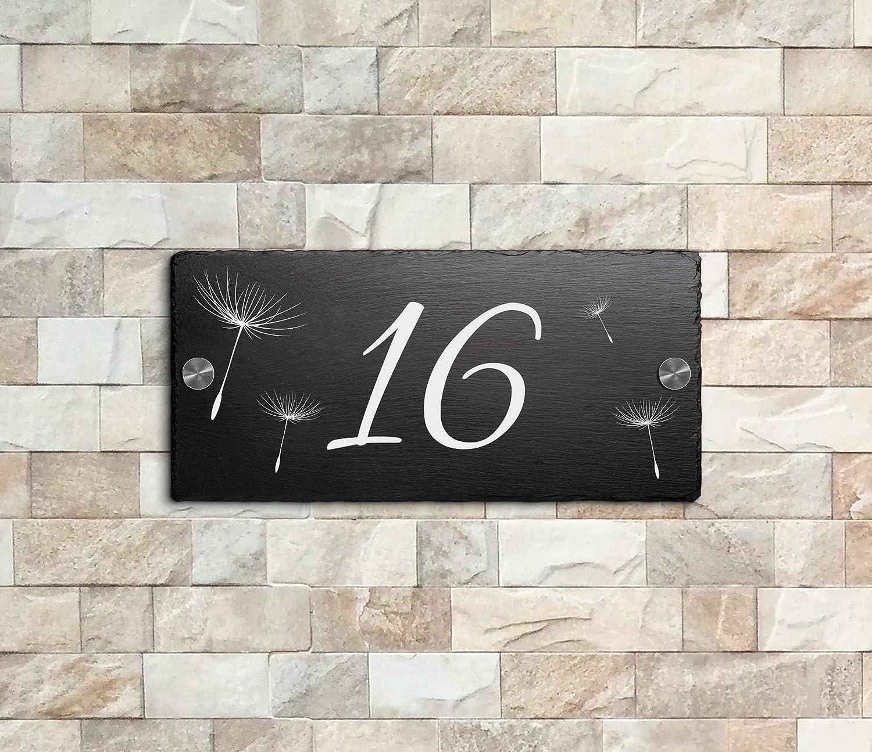 Schiefer Hausnummer /& Stra/ße Namen 21x10 cm Wunsch-Gravur Namensschild Schild