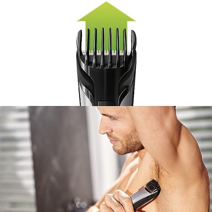 Philips BodyGroom TT2040/32 - Afeitadora corporal inalámbrica para hombre, con dos cabezales de recorte y afeitado, color plateado y negro