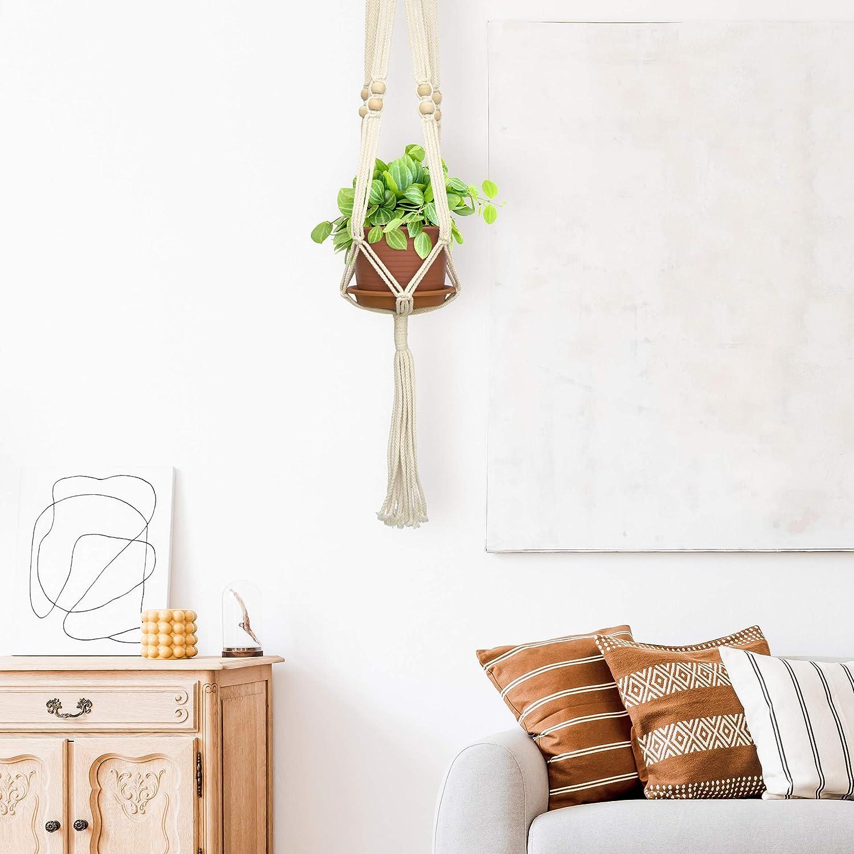 Pack of 2 Macram/é Hanging Planter Pots with Saucers 6 Inch Terracotta Decorative Plants Hangers with Plastic Pots
