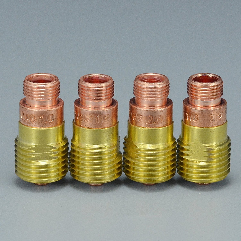 16PCS TIG Welding Torches Stubby Gas Lens Collets Alumina Nozzles Back Cap Kit