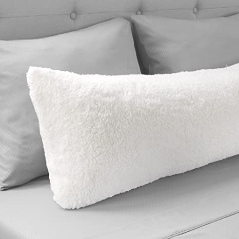 """Body Pillow Cover. Sherpa with side zipper by Lavish Home – 18 """"x52"""" (White)"""