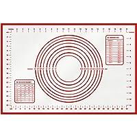 HBlife Grand Tapis de Cuisson en Silicone Anti-adhésif Tapis de pâte avec mesure (60 x 40 cm) (Rouge)