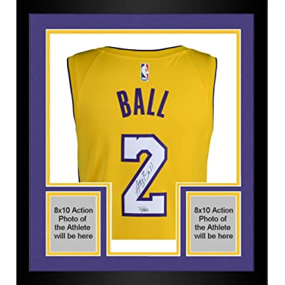 save off 92eb7 294f4 Framed Lonzo Ball Los Angeles Lakers Autographed Nike Gold ...