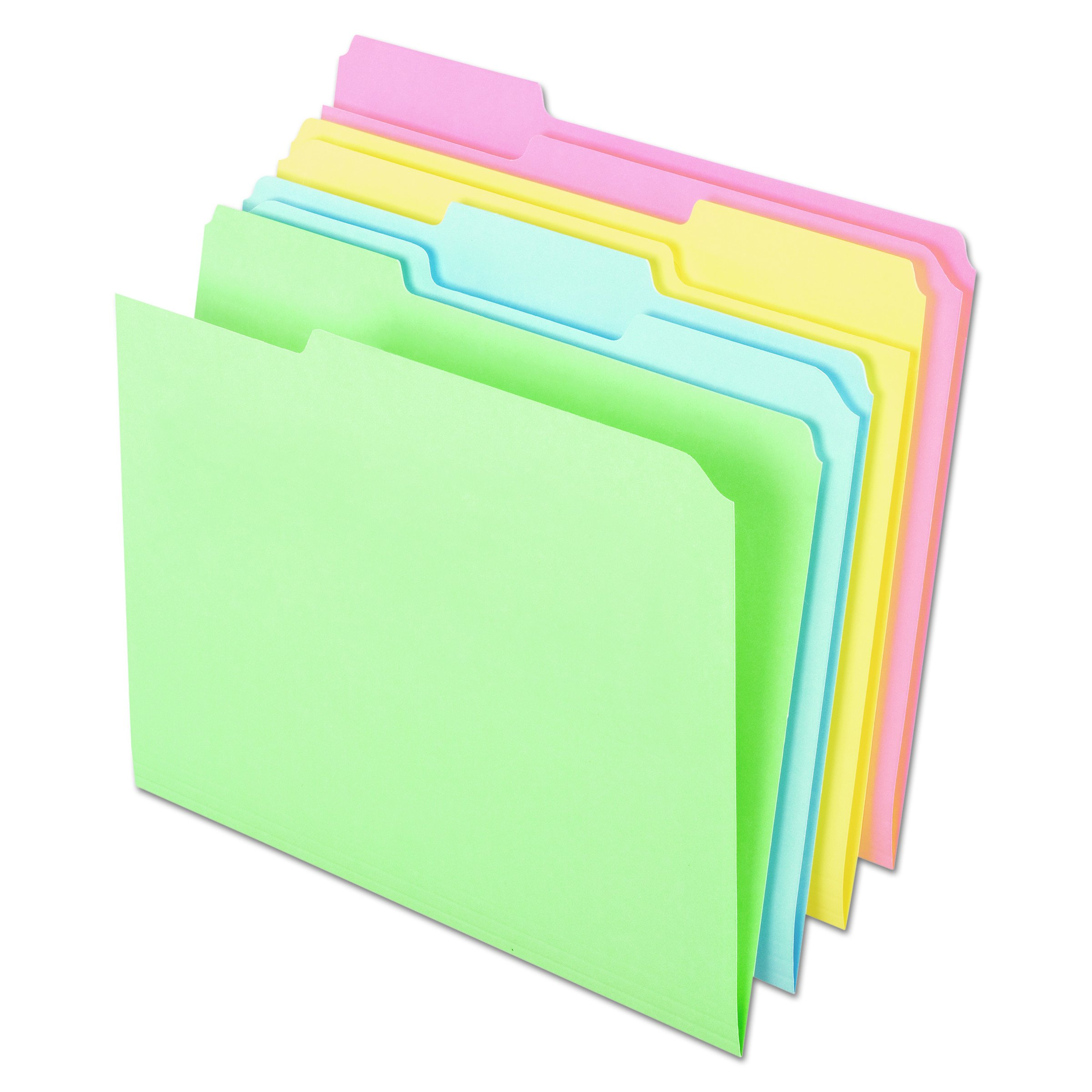 Pendaflex C2113PASR Pastel Color File Folders, 1/3 Cut Top Tab, Letter, Assorted (Box of 100) by Ampad