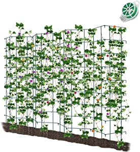 CEED4U 64 Inches Height Green Expandable Pea Trellis with 328 Feet Garden Twist Ties, Steel Plant Supports for Climbing Peas and Other Vining Crops