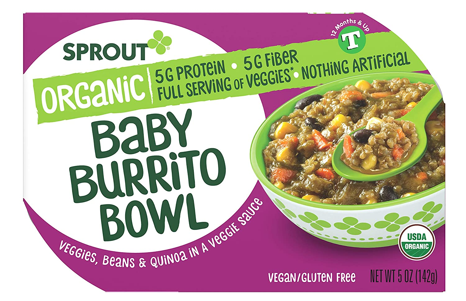 Sprout Organic Toddler Meal Bowl Organic Veggies, Beans and Quinoa In A Veggie Sauce, 5 Oz, Baby Burrito, 1 Count