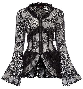 Femme Manteau Coat Dentelle Veste Gothique Steampunk Châle Taille L Noir 9d2a7c63d17