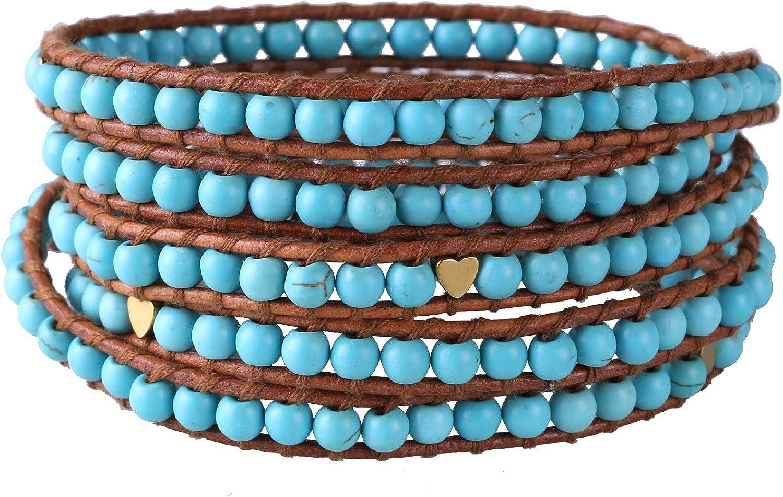 KELITCH Verano Estilo Pálido Azul Natural Piedra preciosa Turquesa Bead 5 Filas Cuff Pulseras De Abrigo Joyería - Marrón Cuero