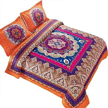 Wake In Cloud - Mandala Comforter Set, Orange Bohemian Boho Chic Medallion Pattern Printed, Soft Microfiber Bedding (3pcs, King Size)