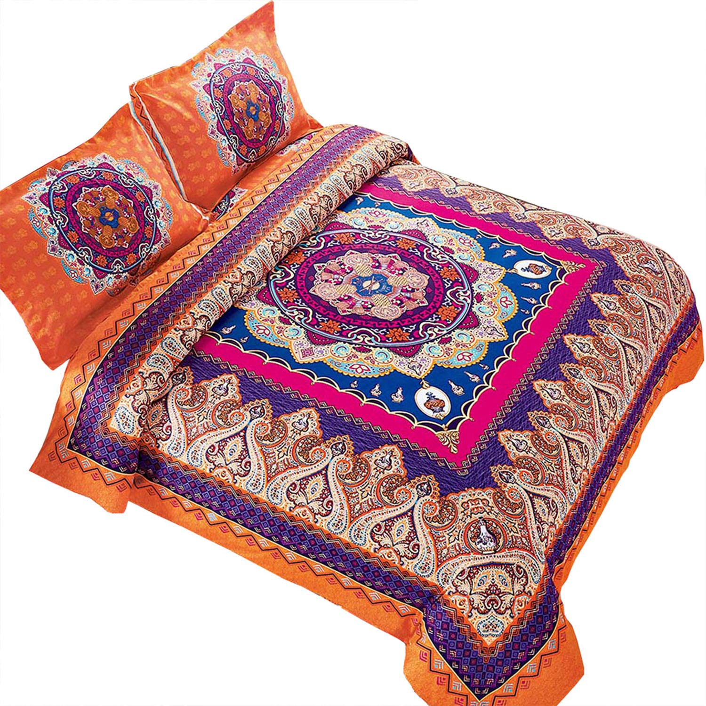 Wake In Cloud - Mandala Comforter Set, Orange Bohemian Boho Chic Medallion Pattern Printed, Soft Microfiber Bedding (3pcs, King Size) by Wake In Cloud (Image #1)