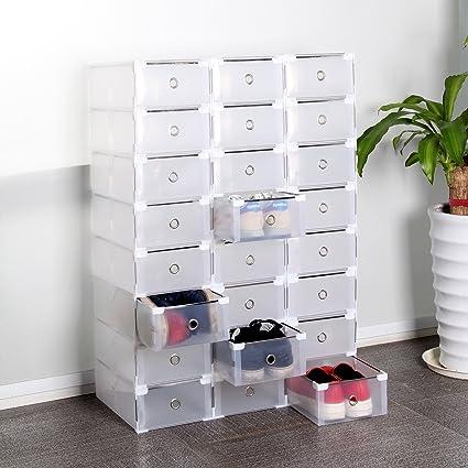 Caja de almacenamiento de plástico con cajones para zapatos, organizador apilable, transparente, plegable