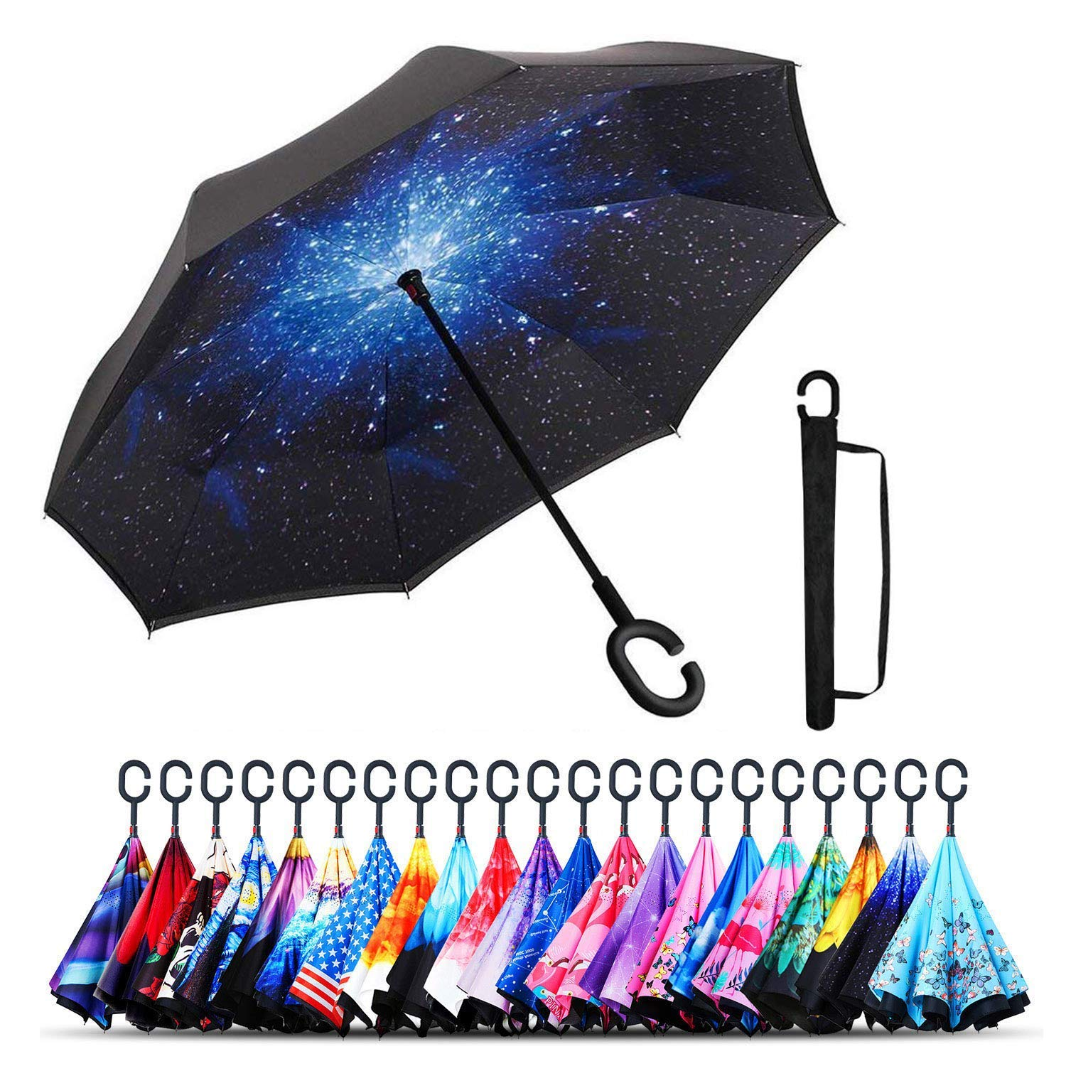 Monstleo Inverted Umbrella,Double Layer Reverse Umbrella for Car and Outdoor Use by, Windproof UV Protection Big Straight Umbrella with C-Shaped Handle and Carrying Bag (Galaxy)