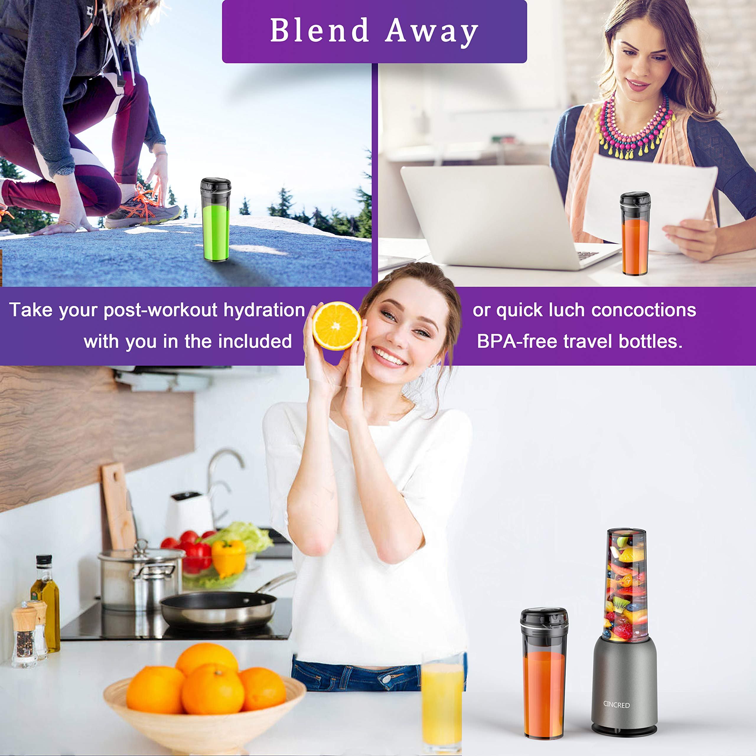Updated 2019 Version Professional Personal Countertop Blender for Milkshake, Frozen Fruit Vegetables Drinks, Smoothie, Ice, Small Mini Portable Single Food Bullet Blenders Processor Shake Mixer Maker with Cup for Home Kitchen by Cincred (Image #4)