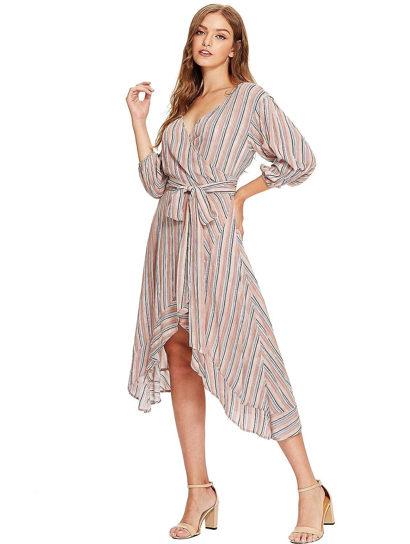 3e6998b790b9 Milumia Women's V-Neck Striped Pinstripe Flounce Dip High Low Hem Split Wrap  Dress at Amazon Women's Clothing store:
