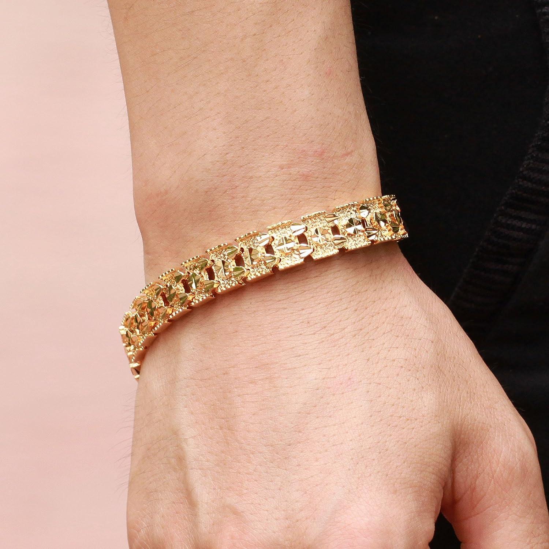 Amazon.com: Lary Jewelry Luxury 18K Gold Plated Men\'s Bracelets ...