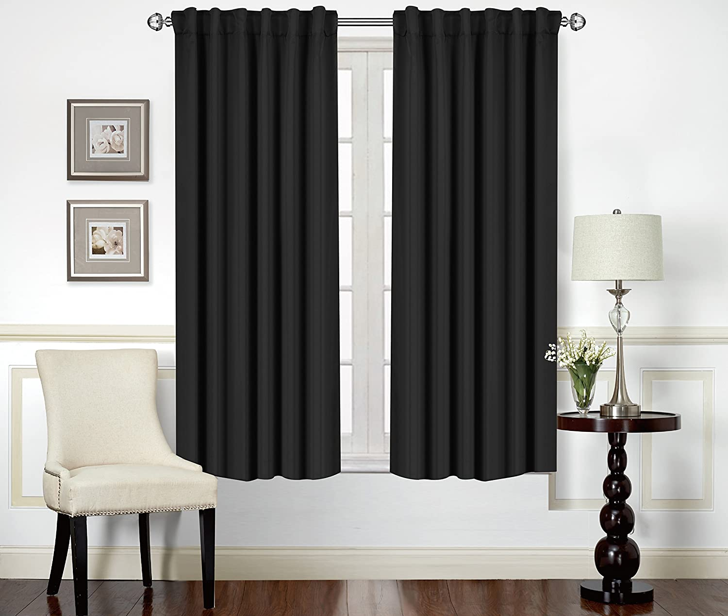 Amazon.com: Blackout Room Darkening Curtains Window Panel Drapes ...