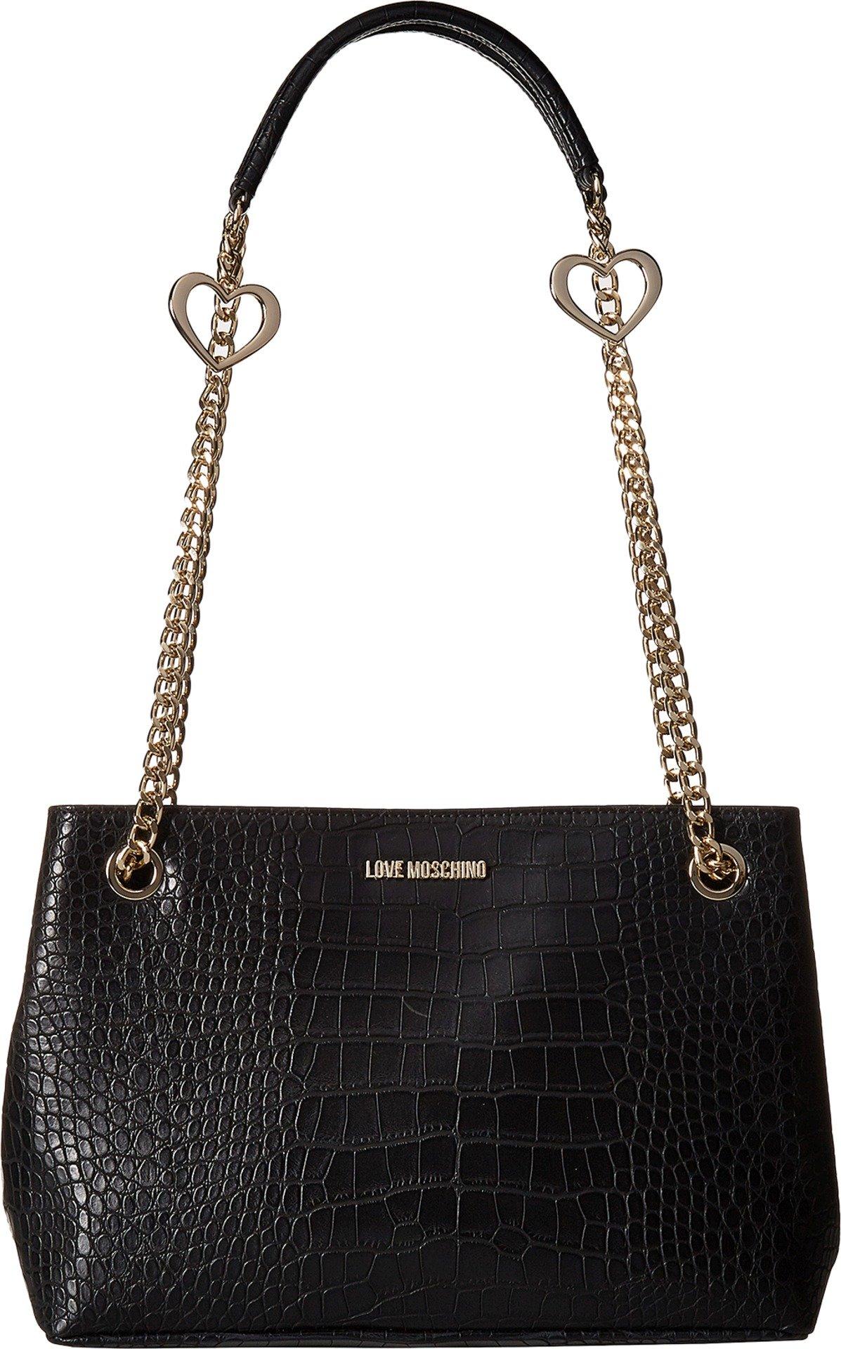 LOVE Moschino Women's Crossbody Pu Tote Black Handbag