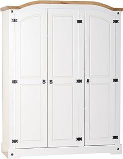 Corona White Bedroom Furniture Set Wardrobe Bedside Chest