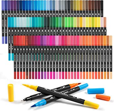 Mogyann Coloring Markers for Adult 100 Colors Dual Tip Brush Pens with Fine Tip and Brush Tip for Coloring and Calligraphy Drawing