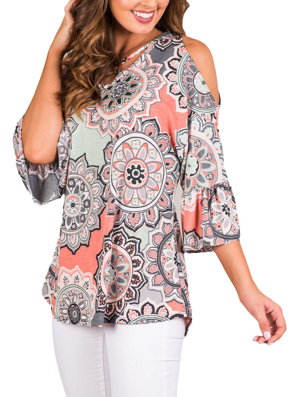 ZKESS Women Summer Crisscross Front V Neck Cold Shoulder 3/4 Sleeve Floral Tops Casual T Shirt Large Size Grey