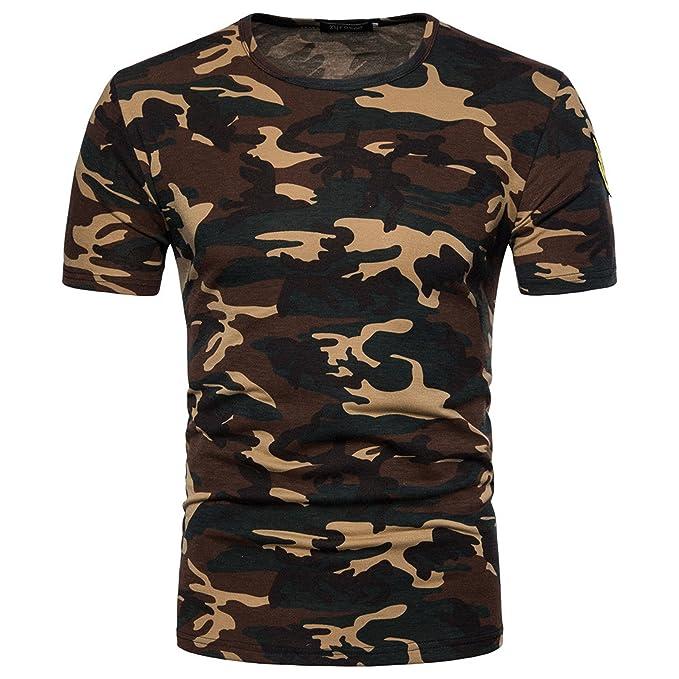 nueva colección 7e466 eb861 Camiseta Hombre,Longra ★ Camiseta de Camuflaje Hombre Militares Camisetas  Deporte Ropa Deportiva Camisa de Manga Corta de Camuflaje Slim Fit Casual  ...