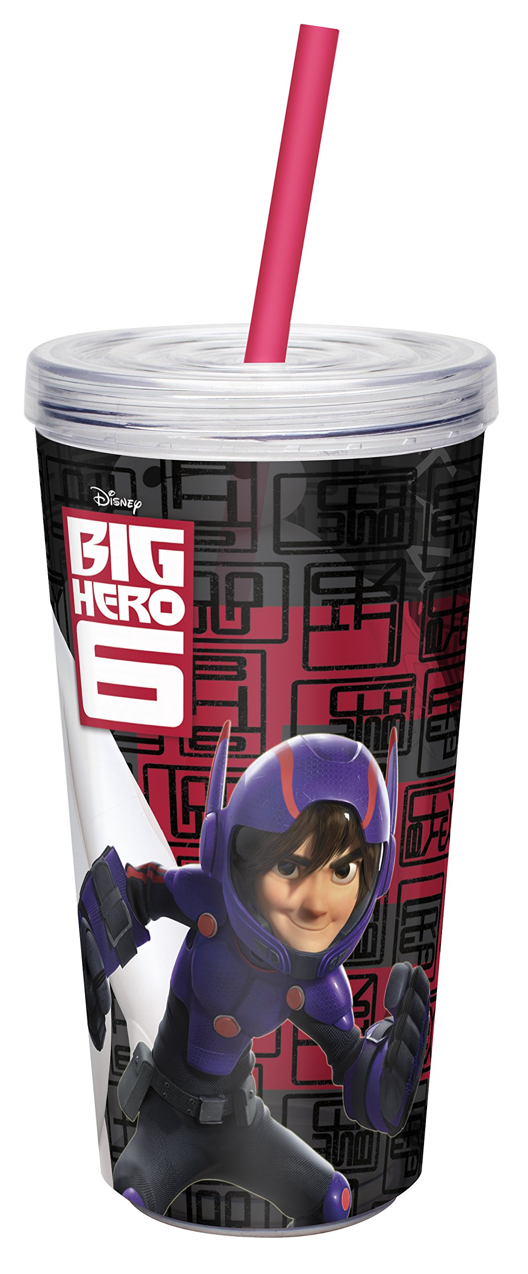 Zak! Designs Insulated Tumbler with Screw-on Lid and Straw with Big Hero 6 Graphics, Break-resistant and BPA-free Plastic, 16 oz