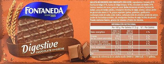 Fontaneda Digestive Galletas Cubiertas de Chocolate con Leche ...