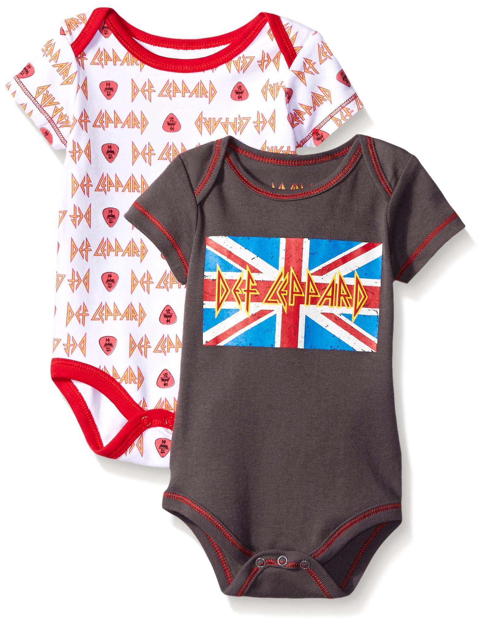 Def Leppard Baby Boys' Two 2 Pack Bodysuit, Gray, 3-6 Months