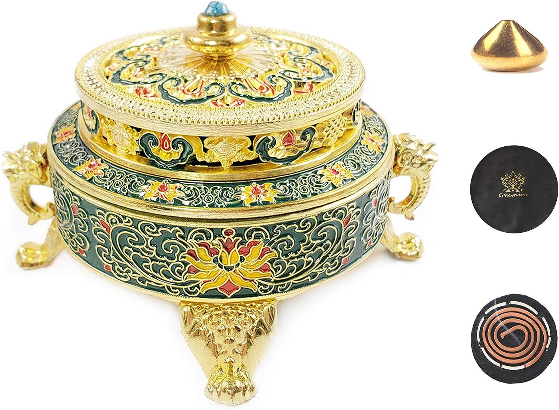 Crescendo & Co Golden Tibetan Incense Burner Holder for Sticks Cones Coils, Antique Metal Lotus Tibet Decor Chinese Incense Burner Fire Resistant Mat & Brass Stick Holder (Gold Blue)