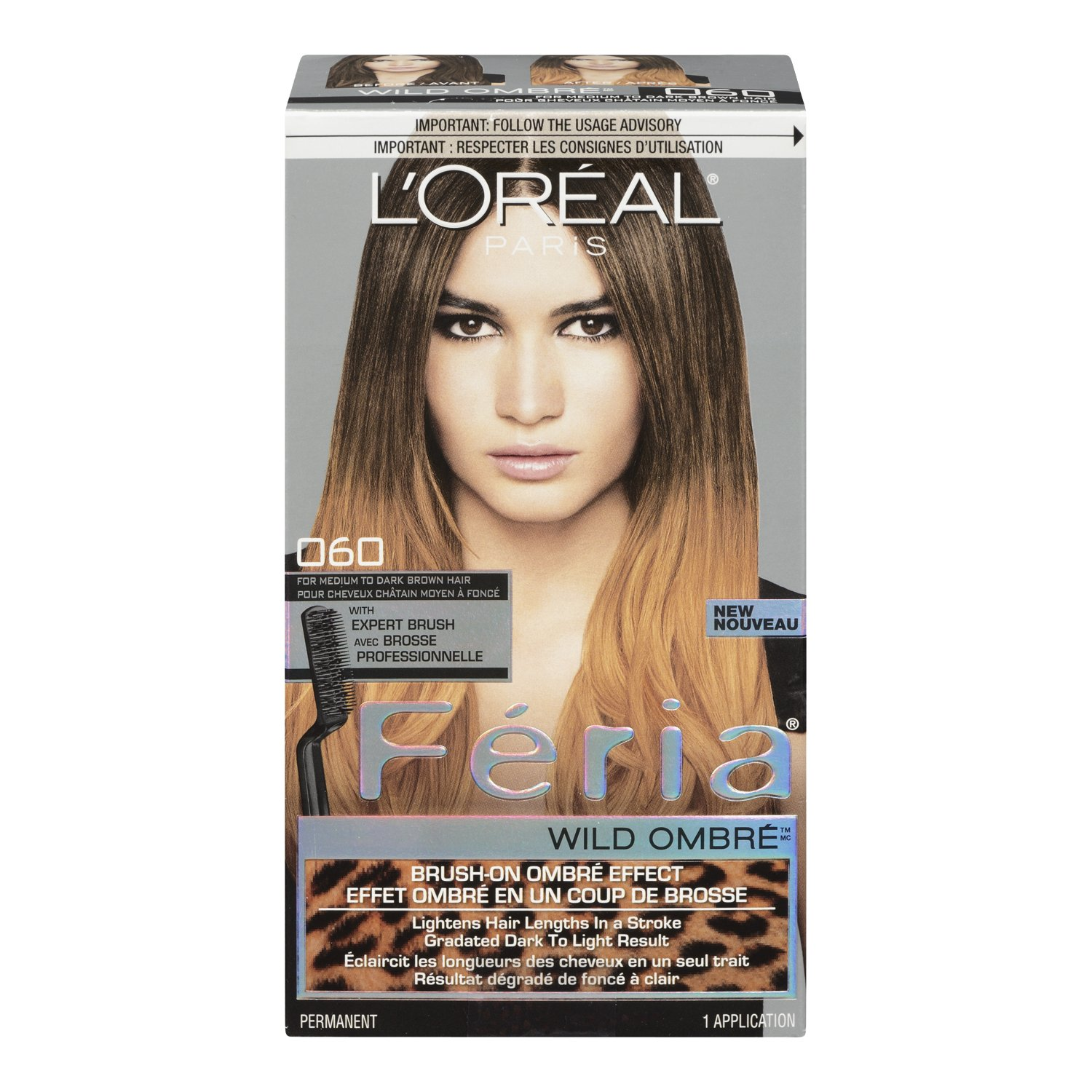 l 39 oreal paris feria brush on intense ombre effect hair color 040 for soft black to. Black Bedroom Furniture Sets. Home Design Ideas