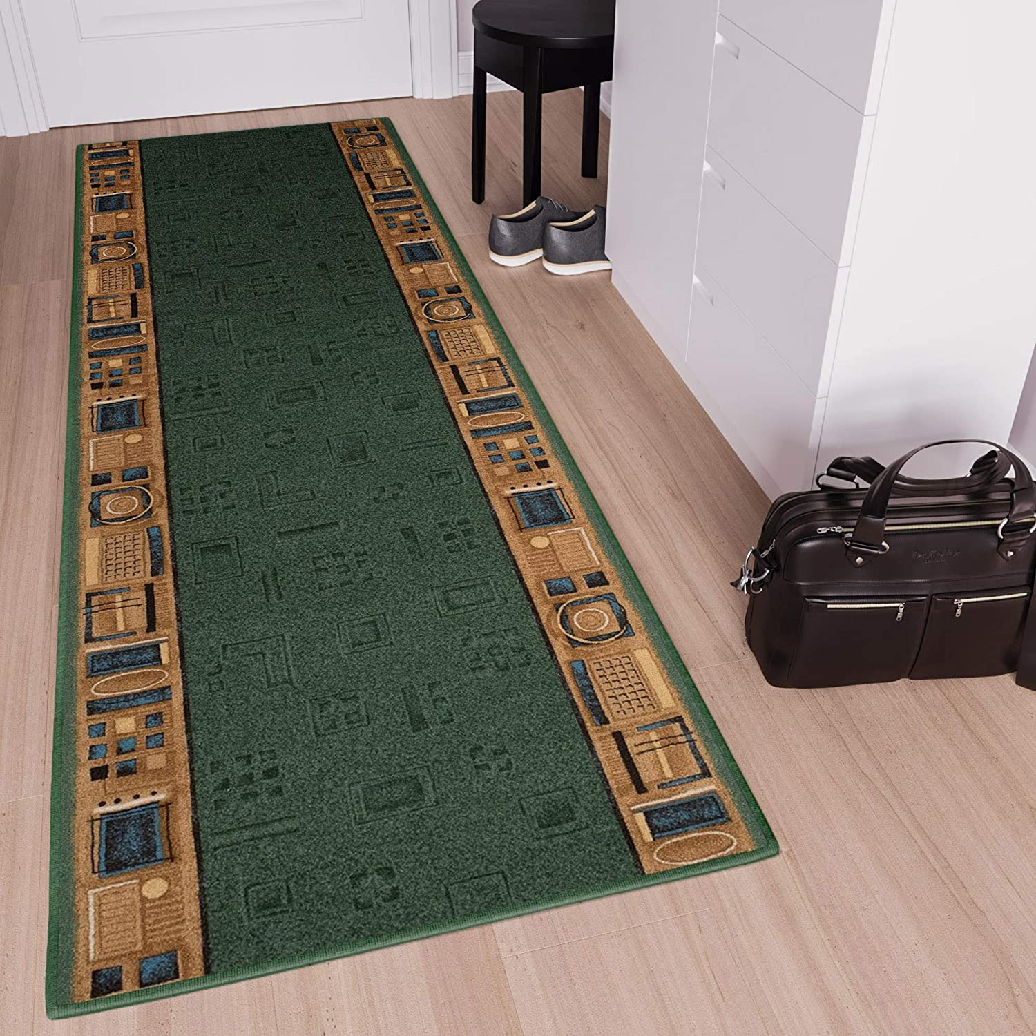 67 x 10 cm Tapiso Anti Slip Hall Stairs Hotel Runner Modern Green Abstract Rubber Backing Durable Carpet Size 2ft2 x 4