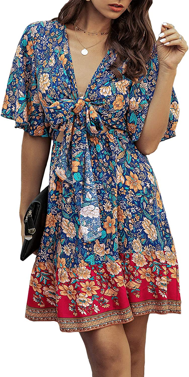 Miessial Women's Floral V-Neck Ruffle Sleeve Short Dresses Tie Front Pleated A-Line Mini Dress
