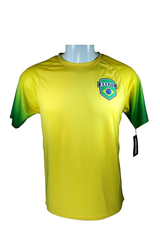 Brazil World大人用サッカートレーニングパフォーマンスPoly Jersey p002 Rhinox B073GHTZZJ Large|ブラジルジャージP002-L Large