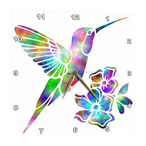 3dRose Rainbow Tie Dye Hummingbird and Flowers - Wall Clock, 10 by 10