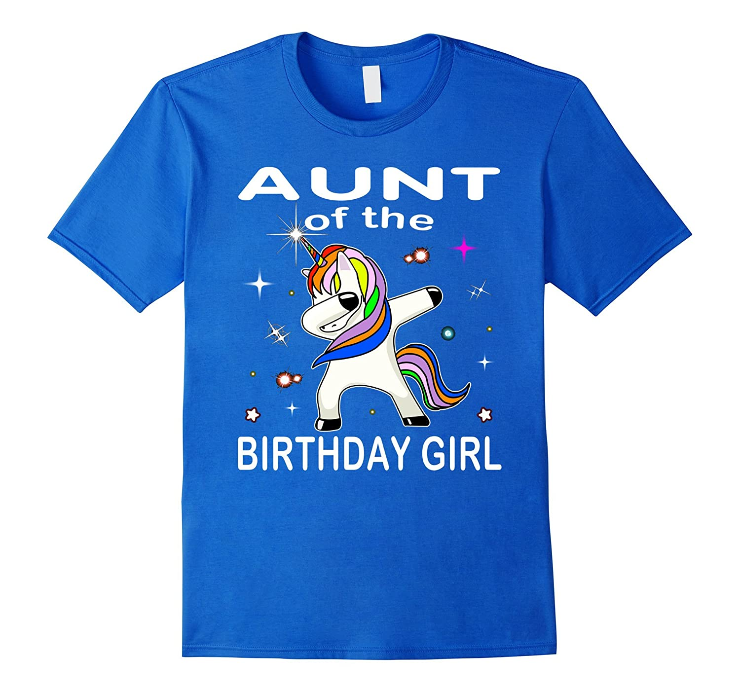 Aunt Of The Birthday Girl Unicorn Dabbing Shirt Gifts Party-RT