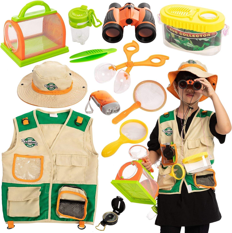 JOYIN Outdoor Explorer Set (Vest, Hat, Binoculars, Flashlight, Magnifying Glass, and Compass) for Indoor or Outside Exploring, Adventure Paleontologist, Safari Play, and Park Ranger Games