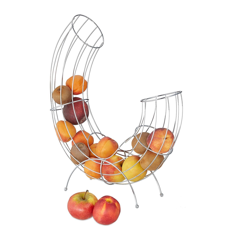 Relaxdays metal Fruit dispenser per mele e arance, moderno Descorative fruttiera, salvaspazio, argento 10020995
