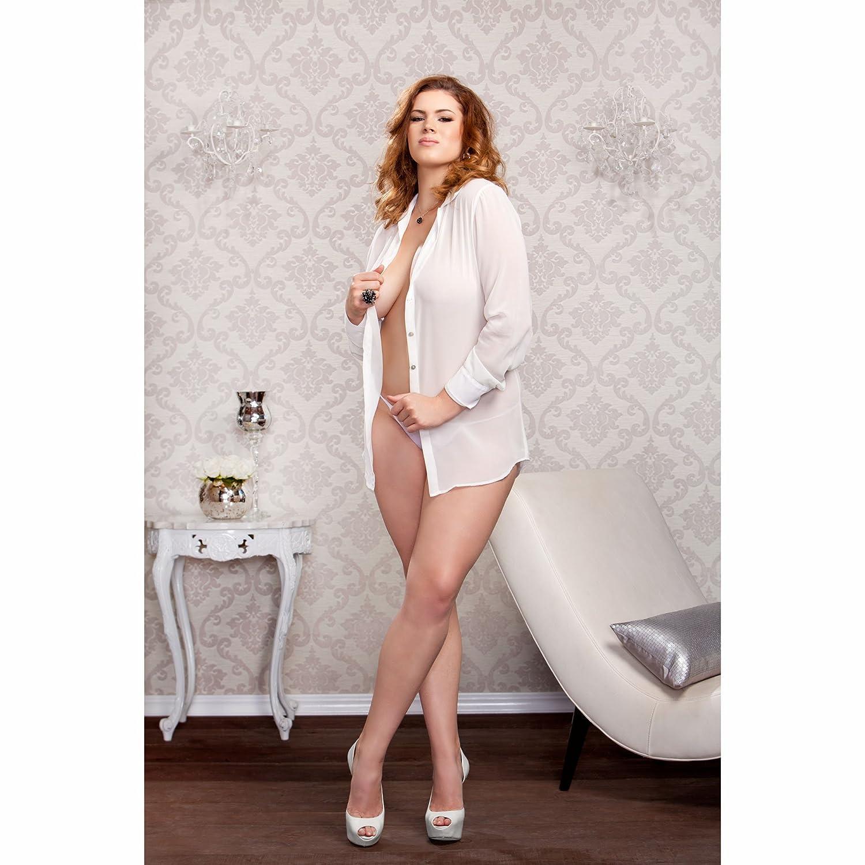 iCollection Women's Plus-Size Chiffon Button Down Sleep Shirt iCollection Exotic IA 7802X