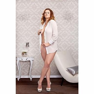 04bfb55a0 Amazon.com  iCollection Women s Plus Size Chiffon Button Down Sleep Shirt   Clothing