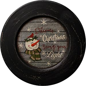 CVHOMEDECO. Snowman Welcome Christmas Decorative Plate Rustic Distressed Round Display Wooden Plate Home Décor Art, 10-3/4 Inch