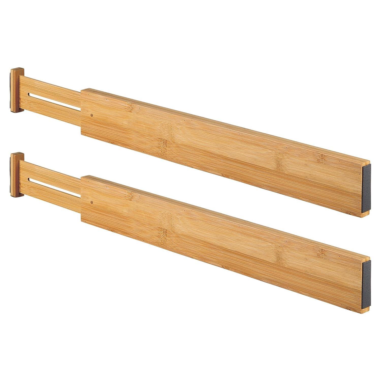 mDesign Set da 2 Divisori per cassetti – Separatori per cassetti e comò in bambù – Ideali organizer per cassettiere a molla – bambù MetroDecor