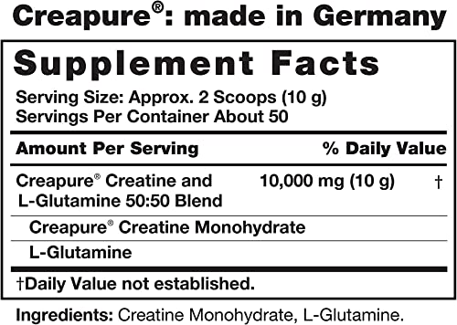 Fitness Labs Creatine and L-Glutamine, 500 Grams Contains Only Pure Creapure Creatine Monohydrate USA-Made Fermented Glutamine