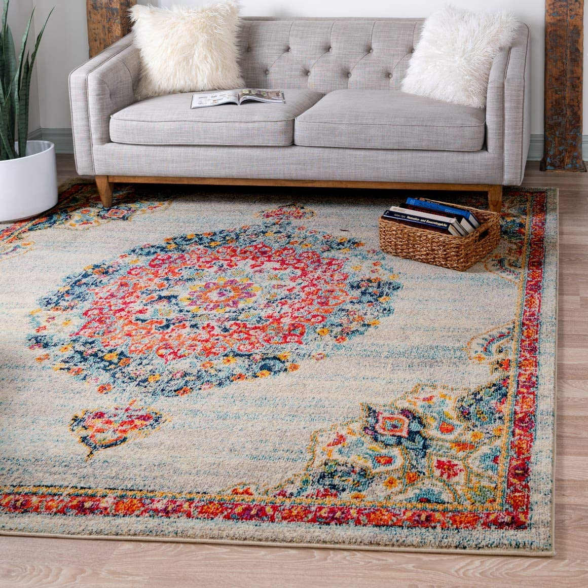 Unique Loom Penrose Collection Traditional Vintage Distressed Ivory Square Rug 8 0 x 8 0