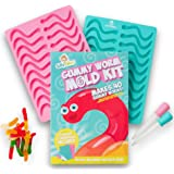 Gummy Worm Mold x2 Pack - 20 Cavity Gummy Candy Molds Silicone Mold- Make x40 Worms with x2 Silicone Worm Gummy Molds - Gummies Mold for Gelatin, Hard Candy, Worm Candy. Includes x2 droppers for kids