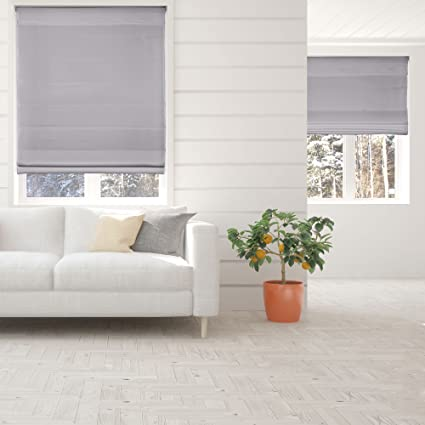 Calyx Interiors Light Filtering Grey Cordless Lift Fabric Roman Shade 29.5