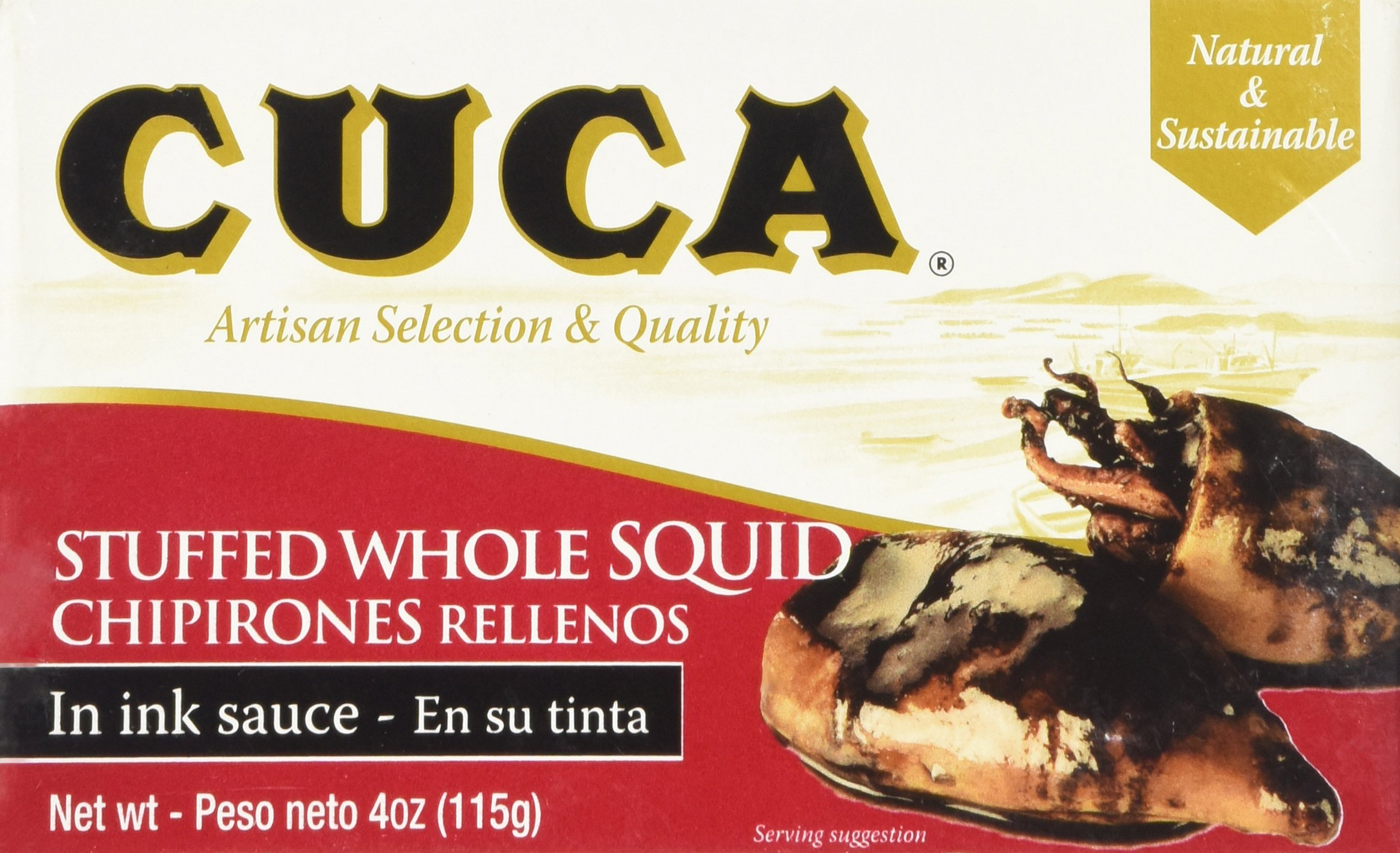 '' Cuca'' Stuffed Whole Squid (Calamares) in Ink Sauce 4 Oz (Canned) by Cuca (Image #1)