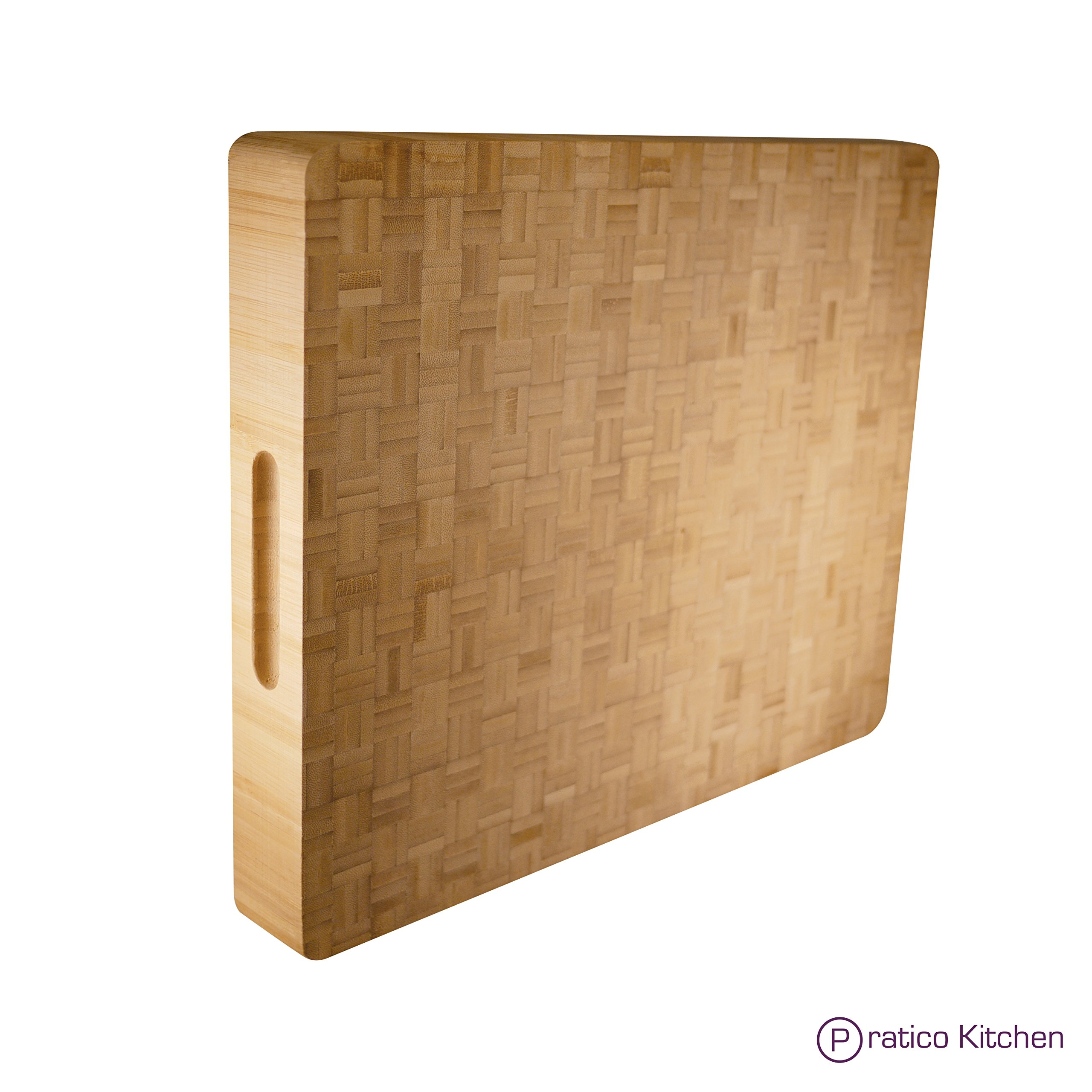 Pratico Kitchen Reversible Organic End Grain Butcher Chopping Block & Serving Tray - 16.5 x 13.5 x 2 inches by Pratico Kitchen (Image #1)